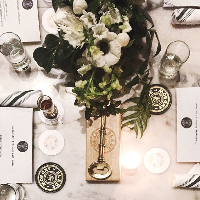 Lovely little table setup tonight at the #bladeandbow tasting event at @acorn_denver ☺️🌸