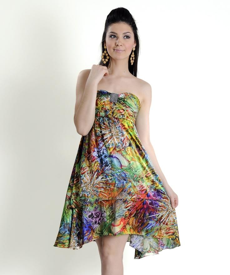 Apparel & Textile :: Dress :: Digital Print Silk Satin Bustier Dress - Tadpolestore.com