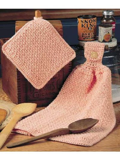 Peachy Kitchen Twosome Towel and potholder free crochet pattern