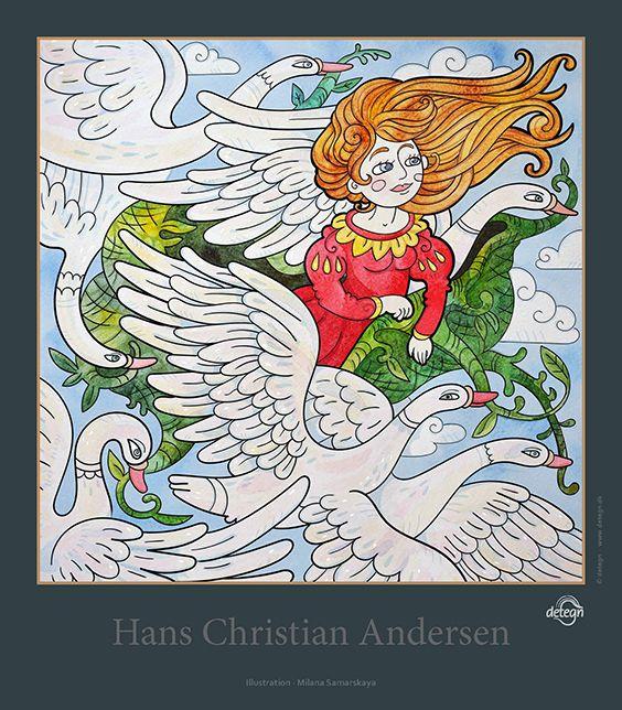 The Wild Swans, poster, Milana Samarskaya, fairy tales, Hans Christian Andersen, drawing
