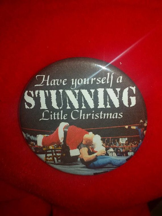Stone Cold Steve Austin Santa Stunner 2.25 Christmas Pinback