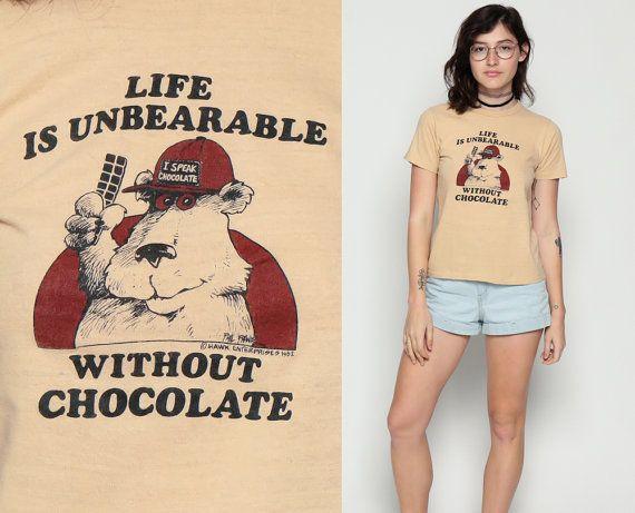 ON SALE Bear Shirt LIFE Is Unbearable Without Chocolate Pun 80s Animal TShirt Retro Tee Vintage Graphic Shirt Joke 1980s t shirt Tan Medium