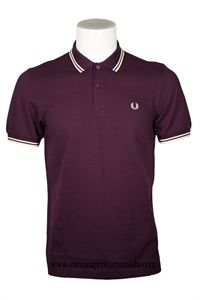Fred Perry polo berenjena rayas beige