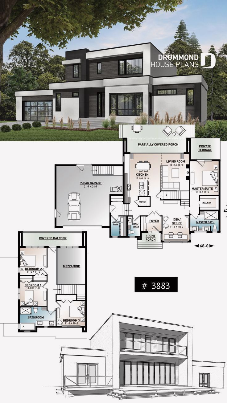 13 Home Design With Open Floor Plan Contemporary House Plans Modern Architecture House Modern House Floor Plans