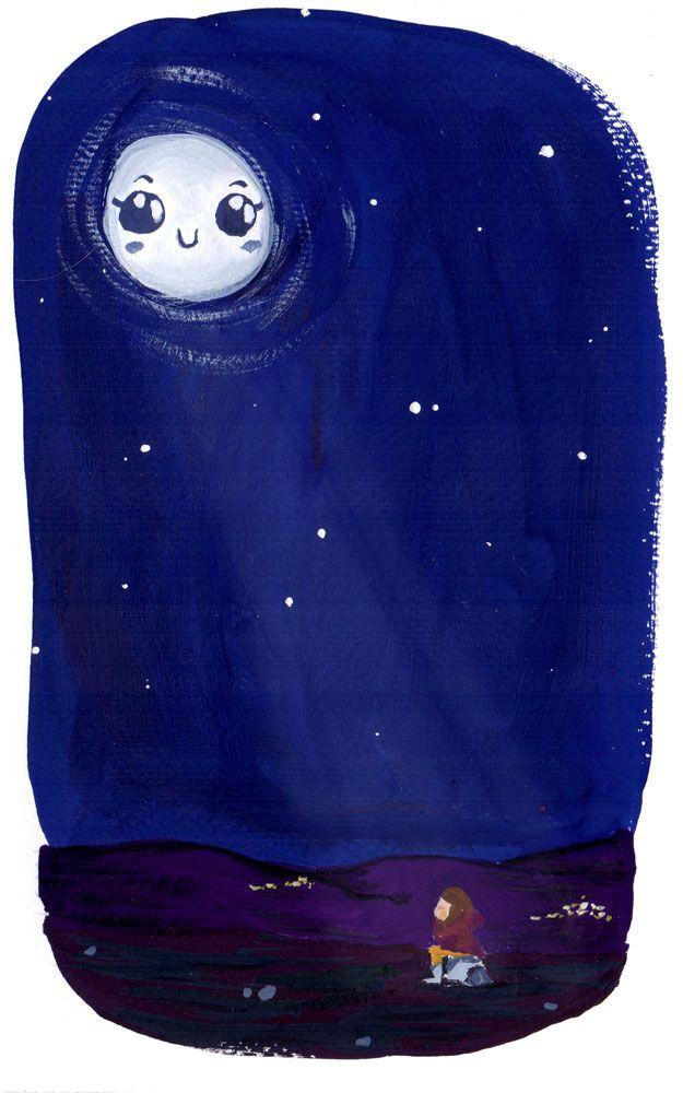Clara se hartó y decidió irse. Aunque era de noche, salió por la puerta y empezó a caminar. No llevaba linterna y aún así caminó mucho rato y… ¡Espera! ¿Cómo pudo llegar tan lejos a oscuras? En lo alto del cielo la Luna llena le iluminaba el camino. Esa noche, la misma Luna le explicó el porqué. Horas antes había encontrado todos sus lápices de colores por el suelo, con las puntas rotas e incluso algunos partidos por la mitad. Cuando Clara los vio se le puso la cara roja. Ya era la segunda…