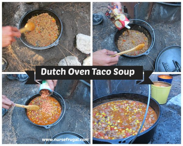 Dutch Oven Taco Soup, easy camping recipe and dutch oven recipe. Feeds at least 8 adults.