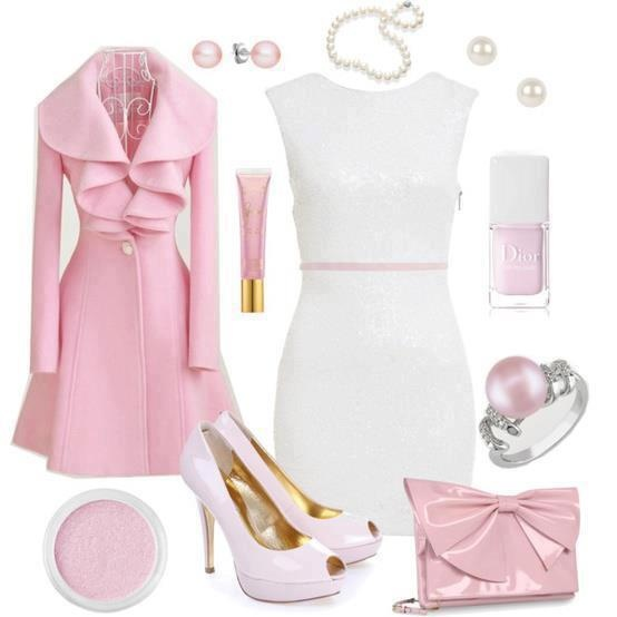 How beautiful is this soft pearly pink and white dress style?! I love the stylish pastel pink ruffled coat - so classy and sophisticated!!!