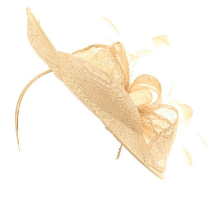Wedding Fascinator Hat - Cream Brim Disc Sinamay