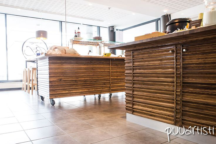 Lunch restaurant furniture and interiors. Woodwork by Puuartisti. Interior design by Nurkanvaltaajat.