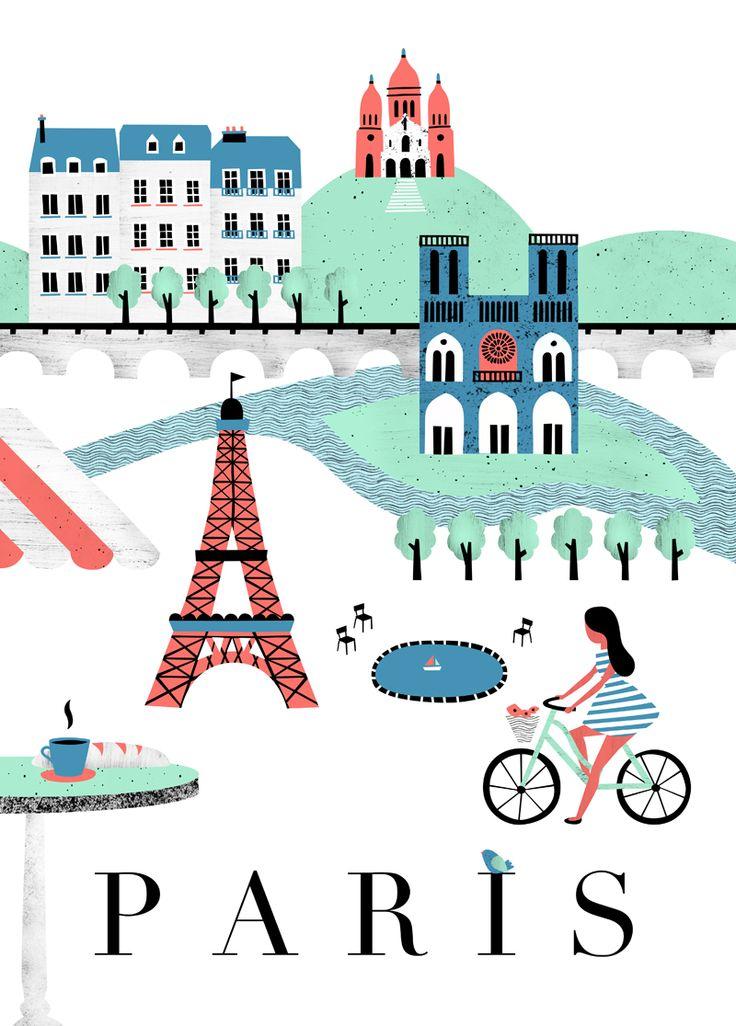 Poster / Affiche Paris pour l'Affiche Moderne - http://www.laffichemoderne.com/creations-graphiques-illustration/380-paris-retro-cedille.html  Par Noémie Cédille - noemiecedille.fr