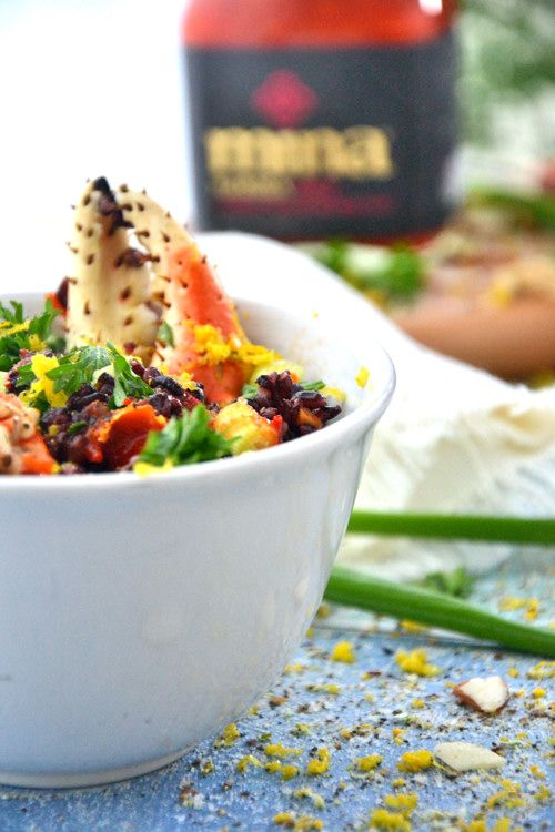 Black Rice Salad with Snow Crab Cocktail Claws TheHealthyApple.com #glutenfree #recipe #healthy