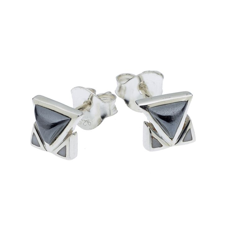 PUSHMATAAHA // SPEARHEAD STUD EARRINGS in Hematite with 925 Sterling Silver