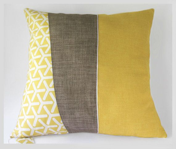 Mid-century modern style large throw pillow cushion cover in mustard yellow, cocoa brown ...