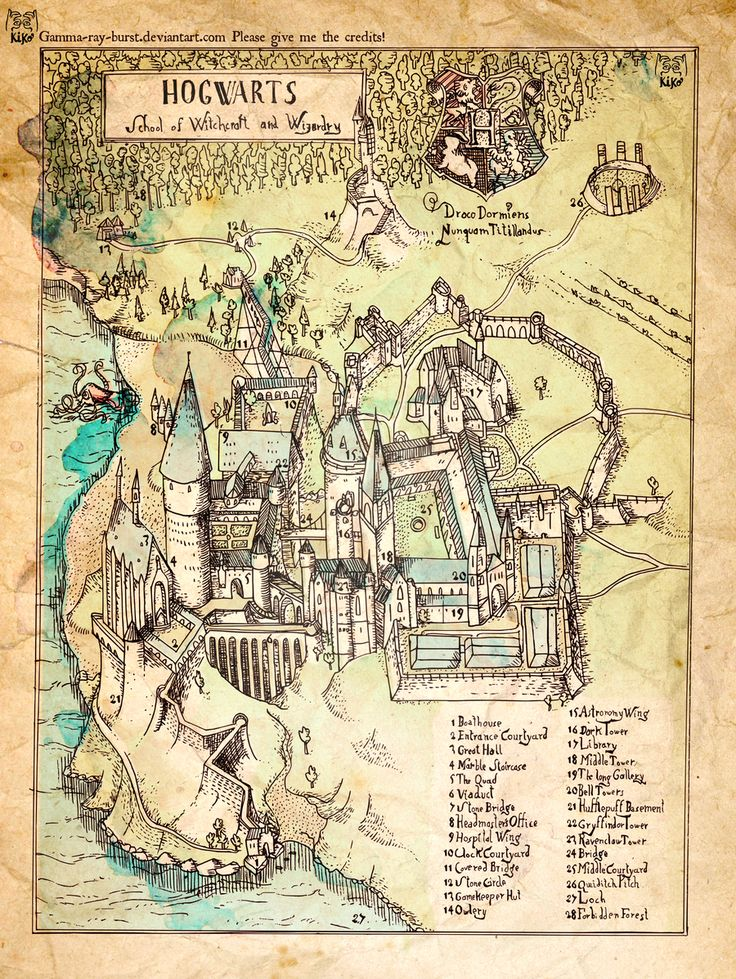 A Hogwarts map made by a fan, based on the films, inspired by 16th century engraving style.  Hand drawing. Vectorized in Inkscape and colored in Photoshop.