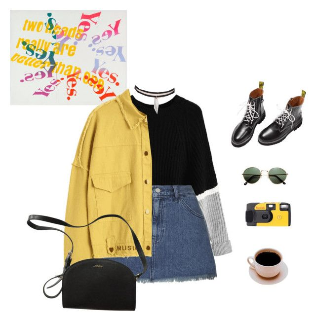 """""""Settle down."""" by greciapaola ❤ liked on Polyvore featuring Topshop, A.P.C., H&M and Kodak"""