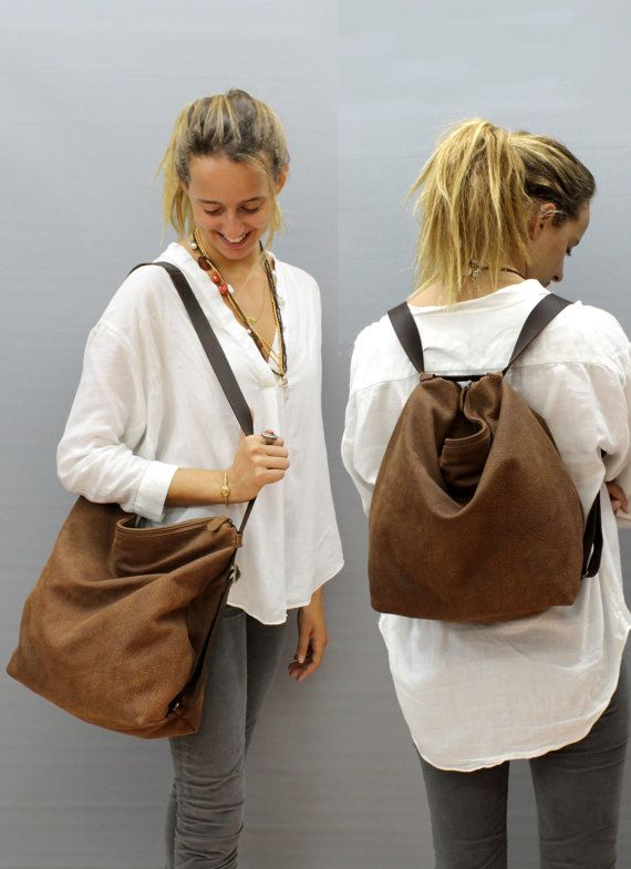 Check out Sale!! leather backpack Crossbody convertible backpack purse in Distressed Brown Shoulder bag Hobo Handmade with love! on limorgalili