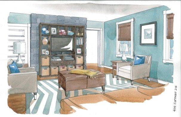 Trim is White Dove and walls are Paradiso, both by Benjamin Moore.: Interior Design, Furniture Arrangement, Furniture Sketch, Interior Sketch Watercolor, Designinterior Sketches, Furniturearrangement, Interior Sketching, Science