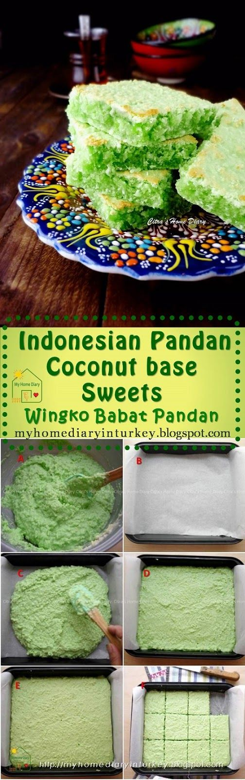 Wingko Babat Pandan /  Indonesian Pandan Coconut base cake. one of Indonesian old traditional snack (jajan Pasar) which may already exist decades ago together with other some traditional snack/ food. Made from grated coconut and glutinous rice flour as main ingredient. Wingko is very famous on the northern coast of the island of Java.