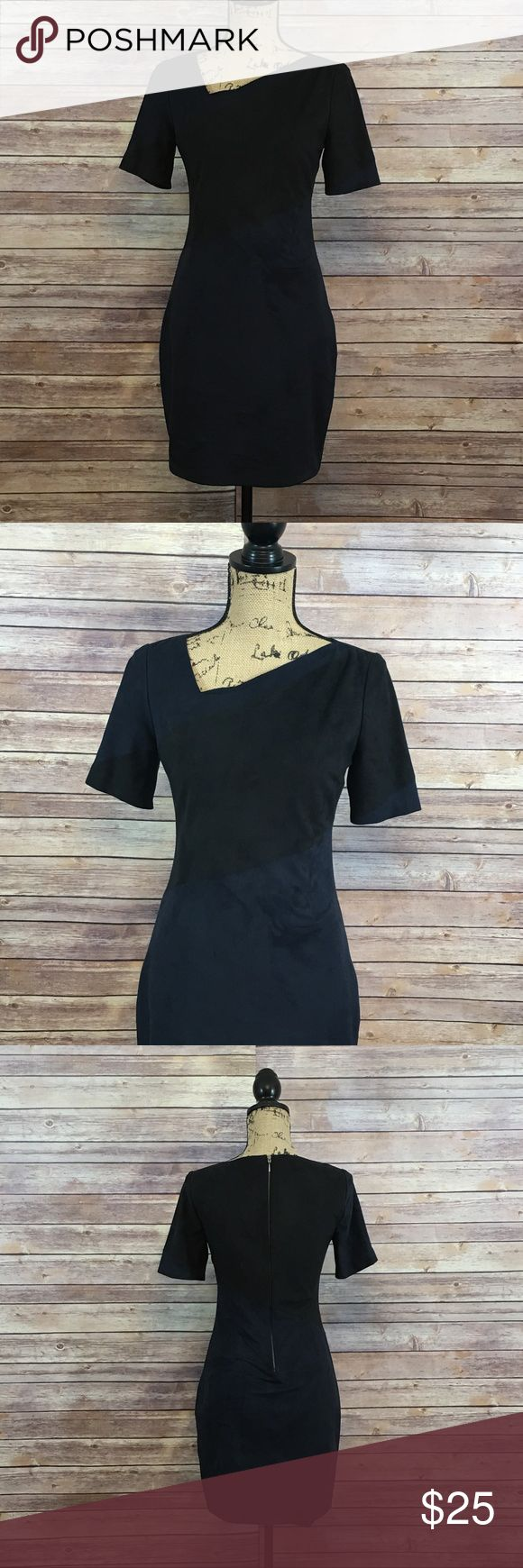 Elie Tahari Dress Size 2 Elie Tahari Dress Navy Blue and Black Colorblock Suede Zippered Back In excellent condition No signs of wear or fading Elie Tahari Dresses