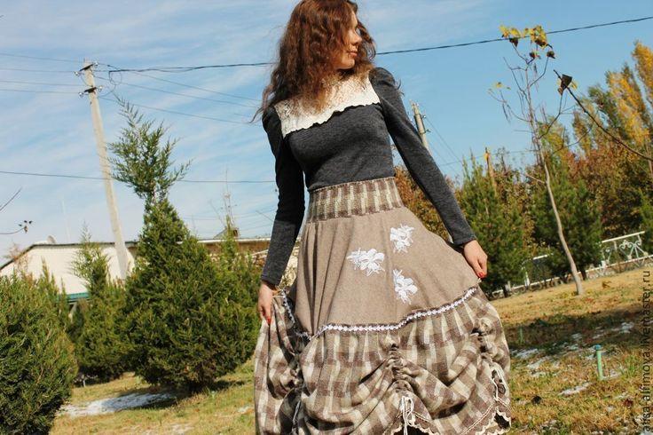 """Купить """"БЕЛЫЕ ЛИЛИИ""""Стильная,зимняя юбочка, шерсть - в клеточку, красивая юбка, дизайнерская одежда"""