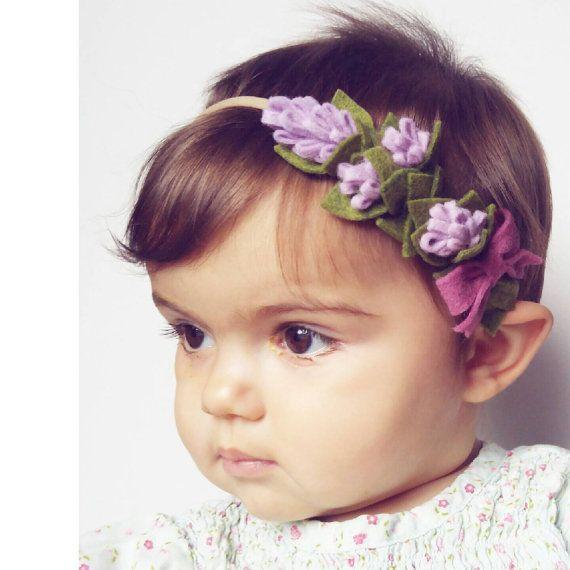Gorgeous Lavender Half Crown wool felt flower by TheFloweredFawn