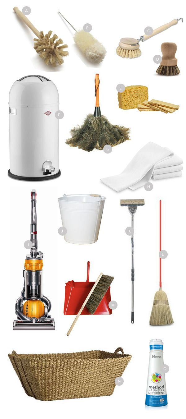 A. Dish Brush B.Bottle Brush C. Vegetable Brush D. Dish Brush E. French Sponges F.Wesco Trash Can G. Ostrich Duster H. My Favorite Dishtowels I. Dyson Vacuum Cleaner J. Mop Bucket K. Metal Mop L. Red Straw Broom M. Red Dustpan N. Laundry Basket O. Best Laundry Detergent Ever