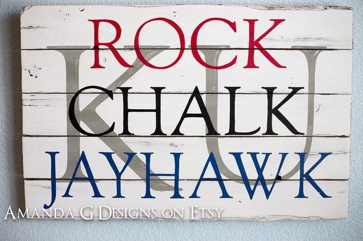 Rock Chalk Jayhawk KU Kansas University Hand Painted Wood Sign.