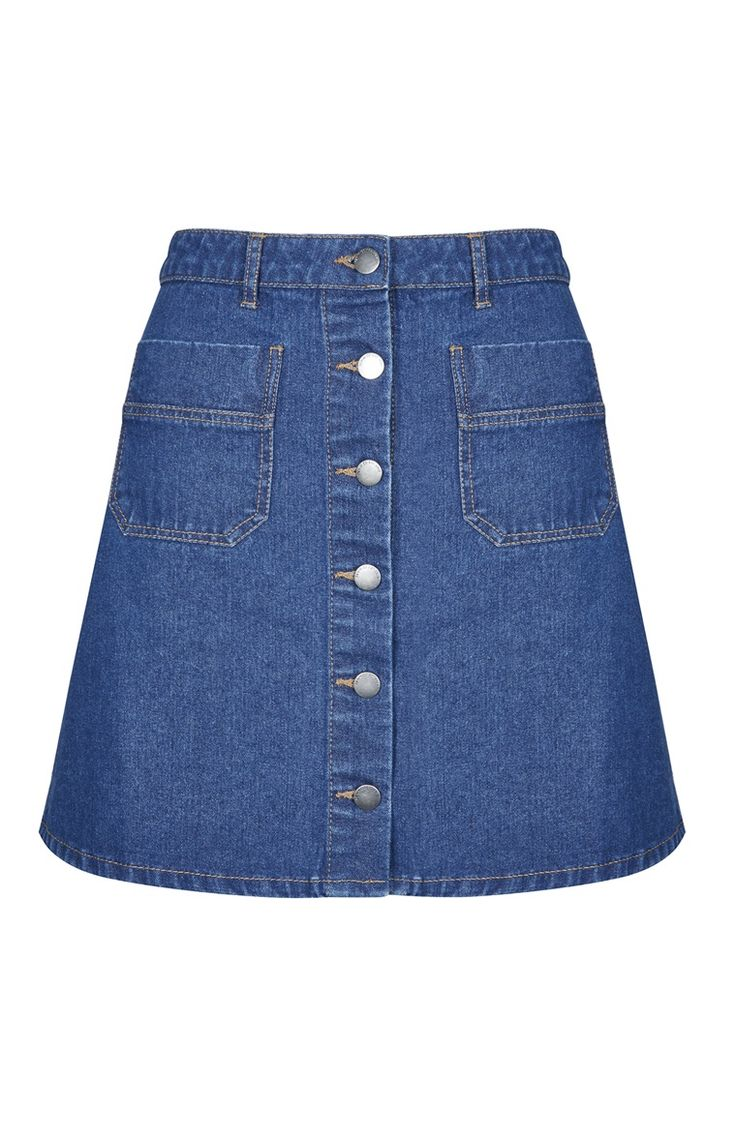 A Line Denim Button Skirt