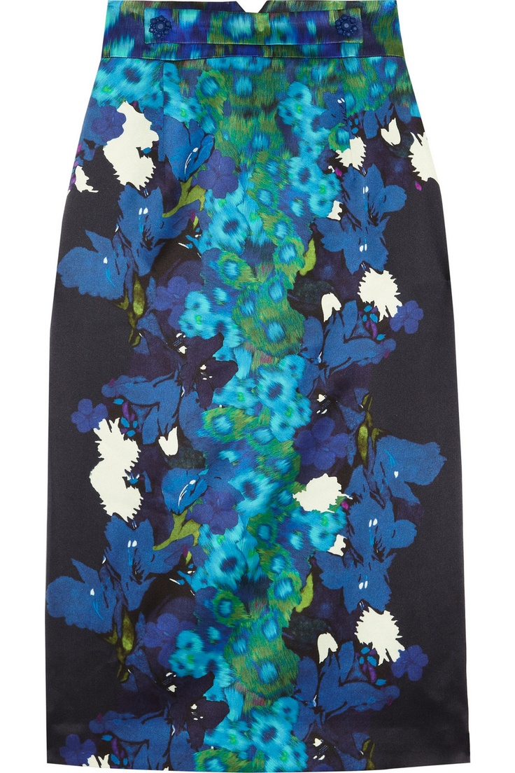Erdem | Dinah printed silk-satin pencil skirt | NET-A-PORTER.COM