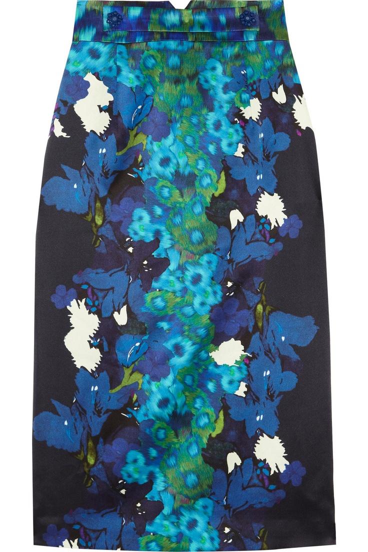 Erdem | Dinah printed silk-satin pencil skirt | NET-A-PORTER.COM