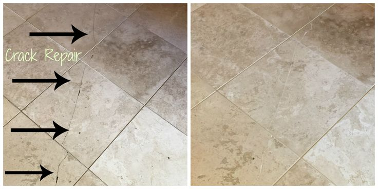 Cracked Travertine Tile Filled Part Epoxy