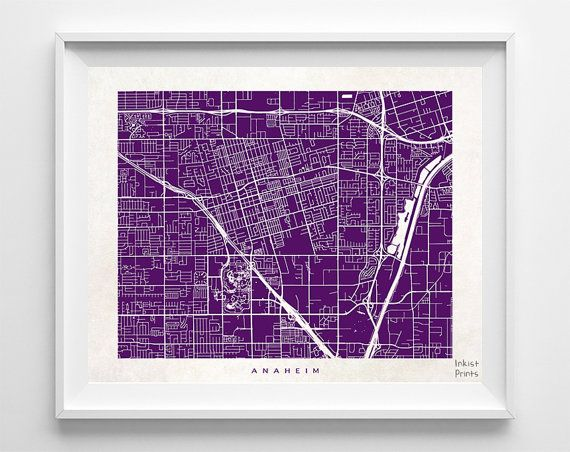 Anaheim Map California Print Anaheim Poster by InkistPrints