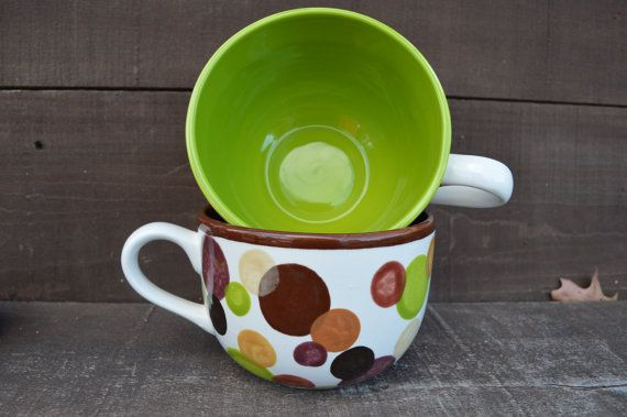 Set of 2  Earth Tone Polka Dots Ceramic Cappuccino Mugs  28