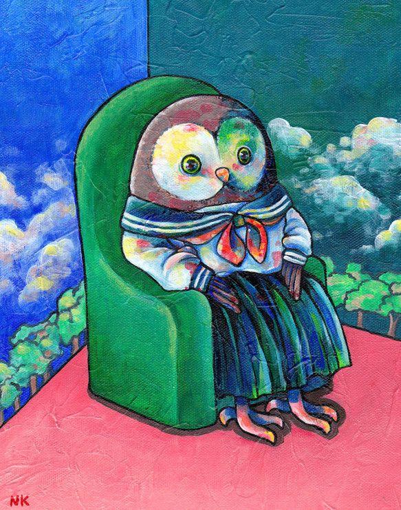セーラー服を着たフクロウが、緑色のソファーに座っています。空模様の壁を見て、何を思っているのでしょうか。●画材:カットキャンバスにアクリルガッシュ●凹凸のある...|ハンドメイド、手作り、手仕事品の通販・販売・購入ならCreema。