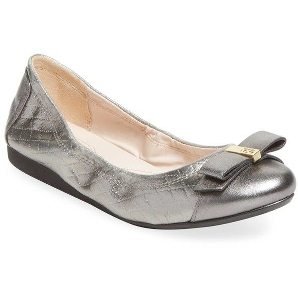 Cole Haan Women's Elsie Ballet Shoes - Silver, Size 10 ($99) ❤ liked on Polyvore featuring shoes, flats, silver, ballet pumps, quilted ballet flats, silver metallic flats, metallic shoes and ballerina shoes