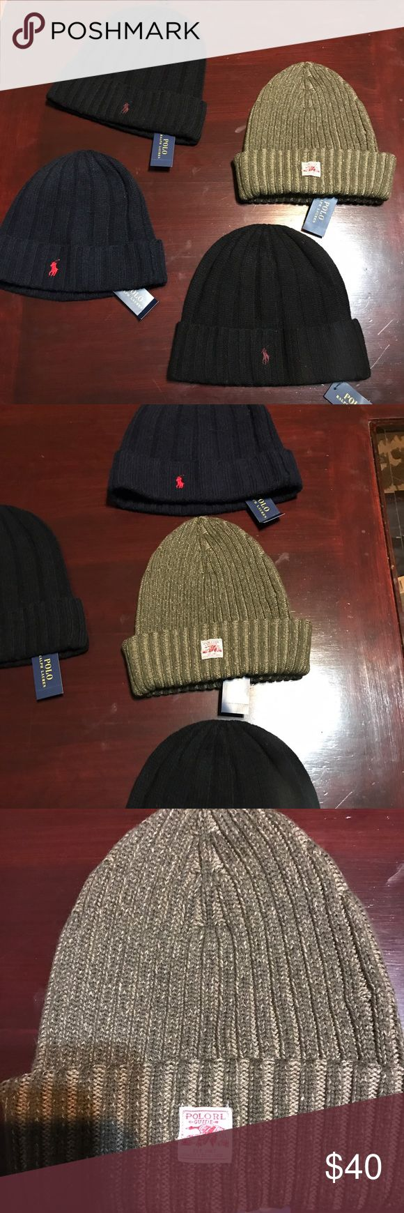 Men's winter hats Polo  hats its that time again yes winter is here and it's time too get fly and stay warm at same time two black polo winter hats 1 Blue and one RRL green is 75 check this out bundle them up accept the RRL. But with the polo hoody for 100 or by one by one anyway it's another good find Ralph Lauren RRL Accessories Hats