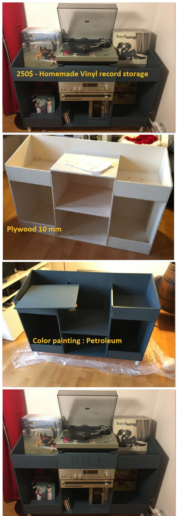 250$ cost homemade vinyl record storage, Plywood 10mm, Color painting : Petroleum, Contact : oudinet.jb@gmail.com