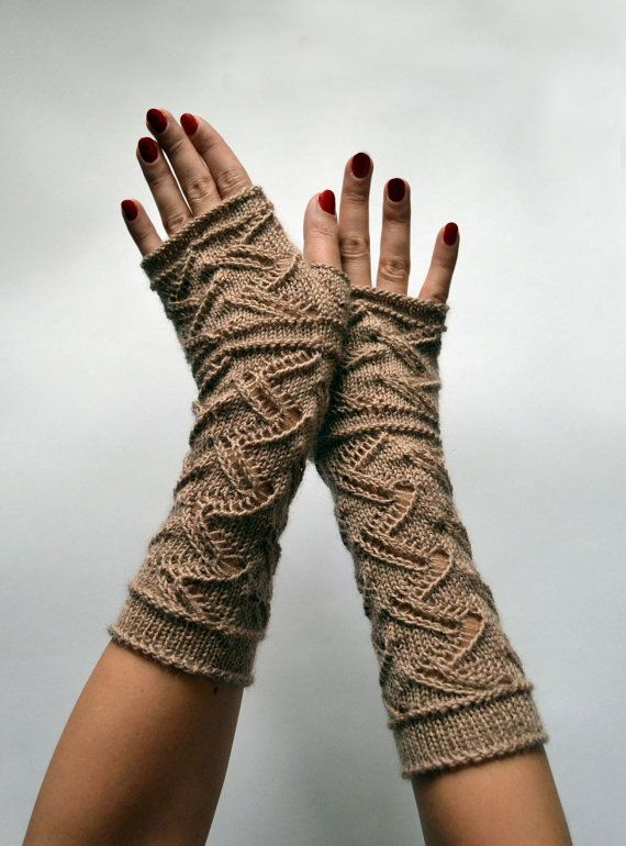 Long Lace Knit Fingerless Gloves  Beige Lace by lyralyra on Etsy