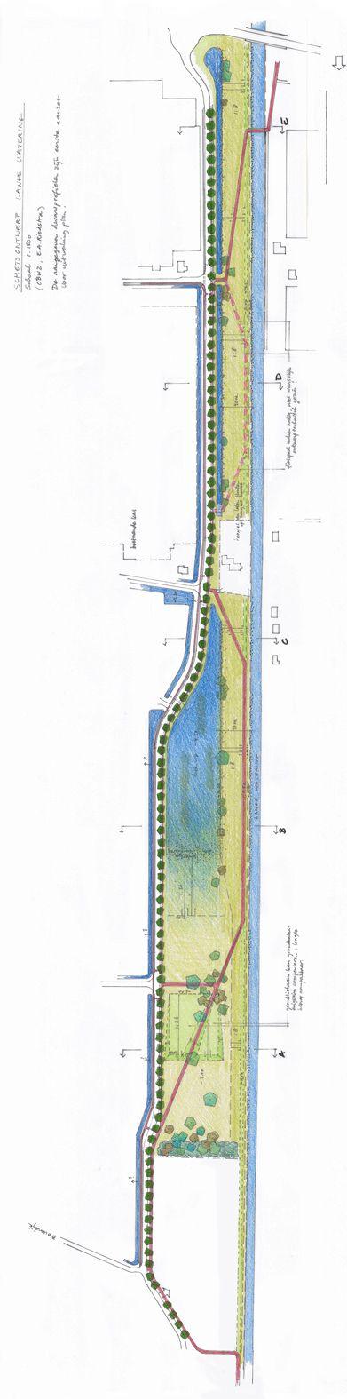 Ontwerp Lange Wateringzone; waterberging, ecologie, een nieuwe ontsluitingsweg langs een kassencomplex en een regionaal fietspad (van Midden-Delfland tot aan het strand van Kijkduin) zijn opgenomen in dit ontwerp van 2013. Uitgevoerd eind 2013.