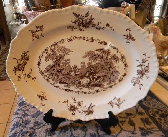 Large Mason\u0027s Romantic Brown Transferware Platter Roses Victorian Scrolls & 312 best Brown Transferware images on Pinterest | Dinnerware ...