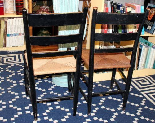 Pair Antique Hitchcock CT Black Gold Stencil Rush Side Country Farmhouse  Chairs - 14 Best Cylinder - Antique Furniture Ct Antique Furniture