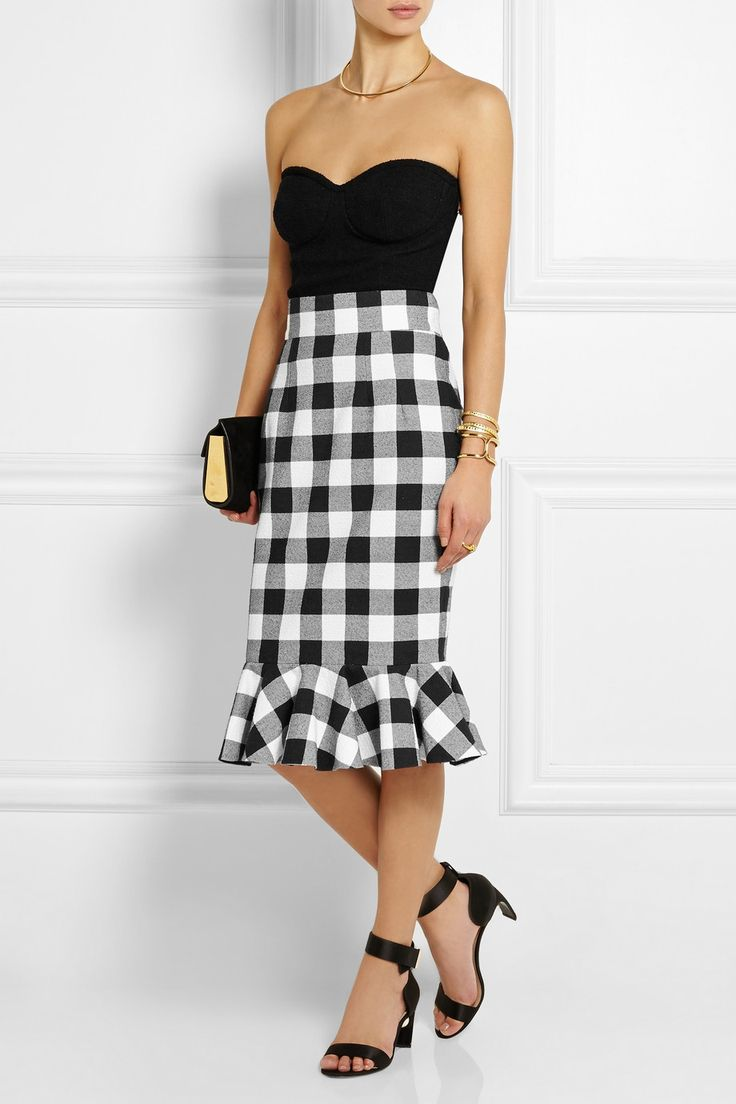 Dolce & Gabbana Gingham stretch-cotton skirt NET-A-PORTER.COM
