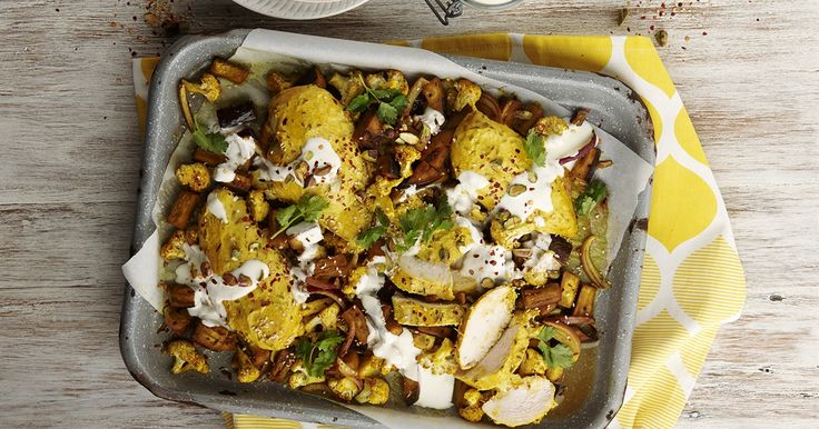 Turmeric roasted chicken with cauliflower and eggplant | OverSixty
