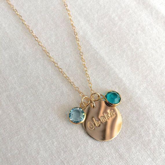 Ohana Necklace Family Necklace Birthstone by StampedSchmuck