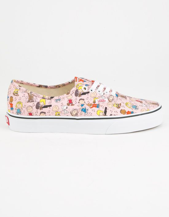 Vans x Peanuts Dance Party Authentic shoes. Vans original and now iconic style, is a simple low top, lace-up with durable Peanuts gang dance party printed canvas upper, metal eyelets, Vans flag label and Vans original Waffle Outsole. Imported.