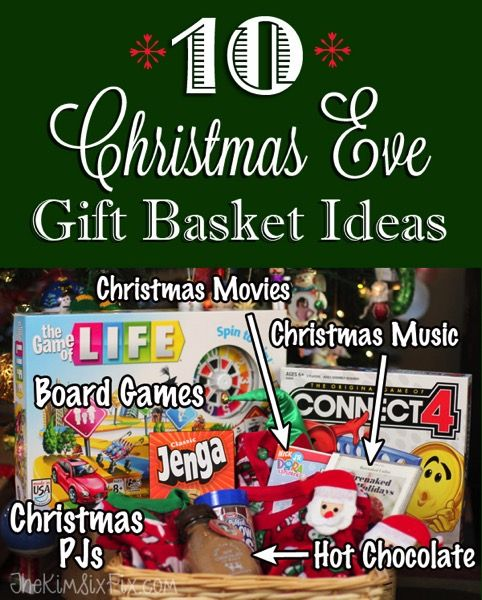 10 Items to include in a Christmas Eve Gift Basket for kids. Games, Books, Movies, Pajamas, Popcorn and more..