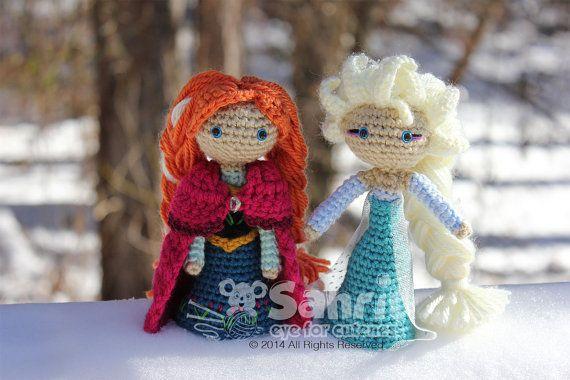 Crochet Elsa And Anna Dolls : PATTERN Instant Download Anna Frozen Crochet Doll Amigurumi
