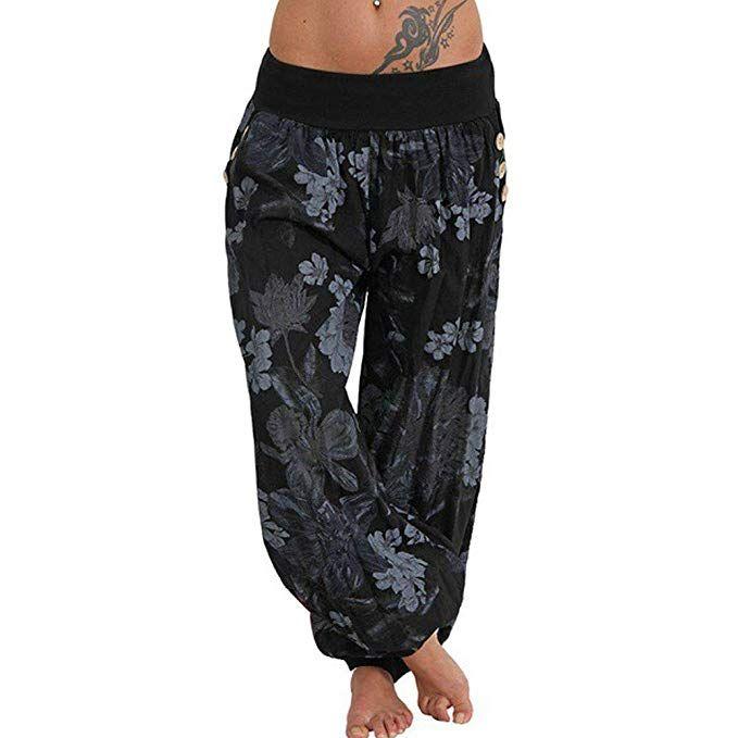 Dongdong Women Casual Harem Pants Tree Print Loose Button Wide Leg Loose Harem Trousers With Pockets Pants For Women Women Pants Casual Casual Wide Leg Pants