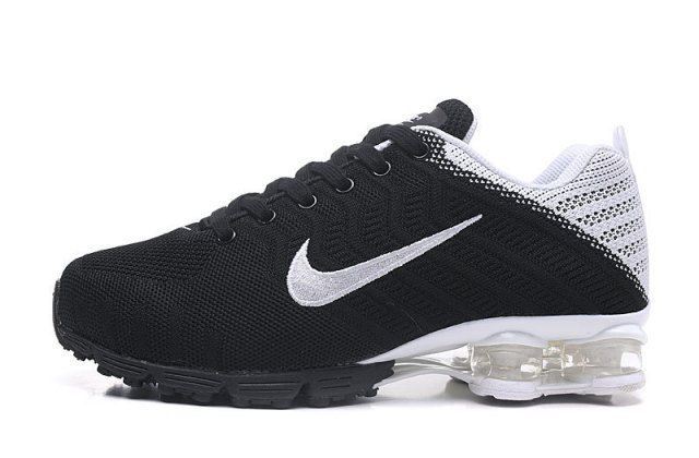 Nike Air Shox Flyknit Black White Shox R4 Men's Athletic Running Shoes