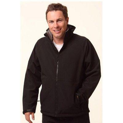 Branded Men's Softshell Hooded Jacket Min 25 - 320gsm 100% Polyester shell back with contrast collar and side panels. #Hoodies #Sweatshirt #PromotionalProducts #LadiesHoodie #KidsHoodie #MensHoodie
